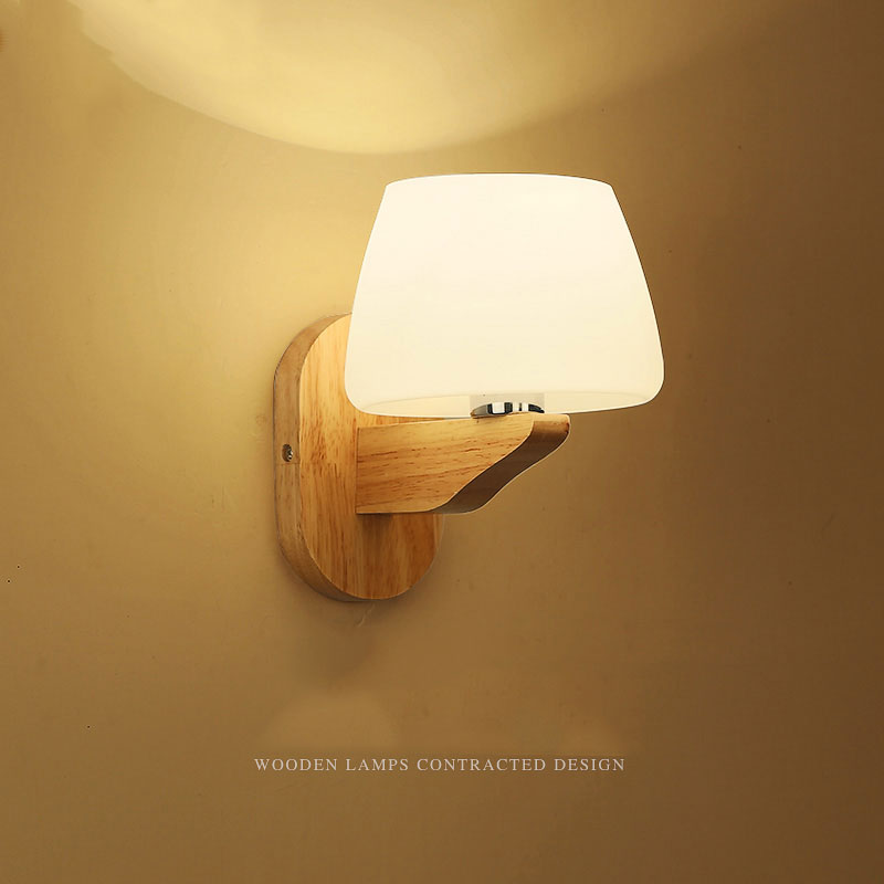 LED sconce simple modern wooden wall lamp for bedroom study living room Japanese style wall light solid wood lamps 0049 цена и фото