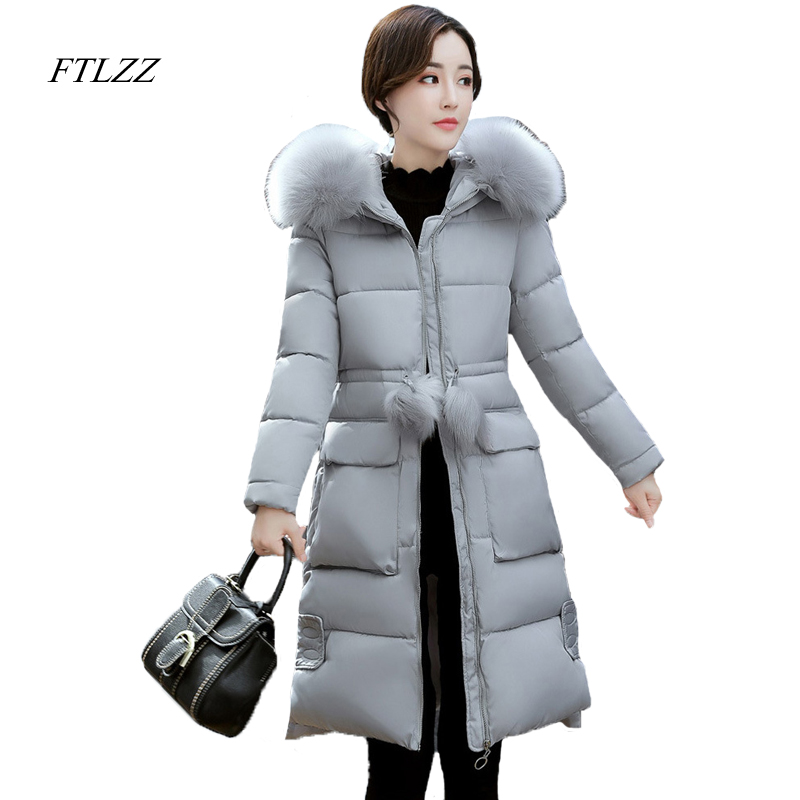 Ftlzz New Women Winter Jacket Cotton Coat Large Fur Collar Hooded Parkas Padded Warm Thickness Casual Medium Long Snow Overcoat ftlzz new women winter jacket cotton coat slim large fur collar hooded parkas padded warm thickness medium long black overcoat