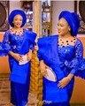Hoge Kwaliteit Afrikaanse Kant Stof Voor Wedding Koningsblauw Franse laser gesneden kant met grote stenen en pailletten kwaliteit 5 yards