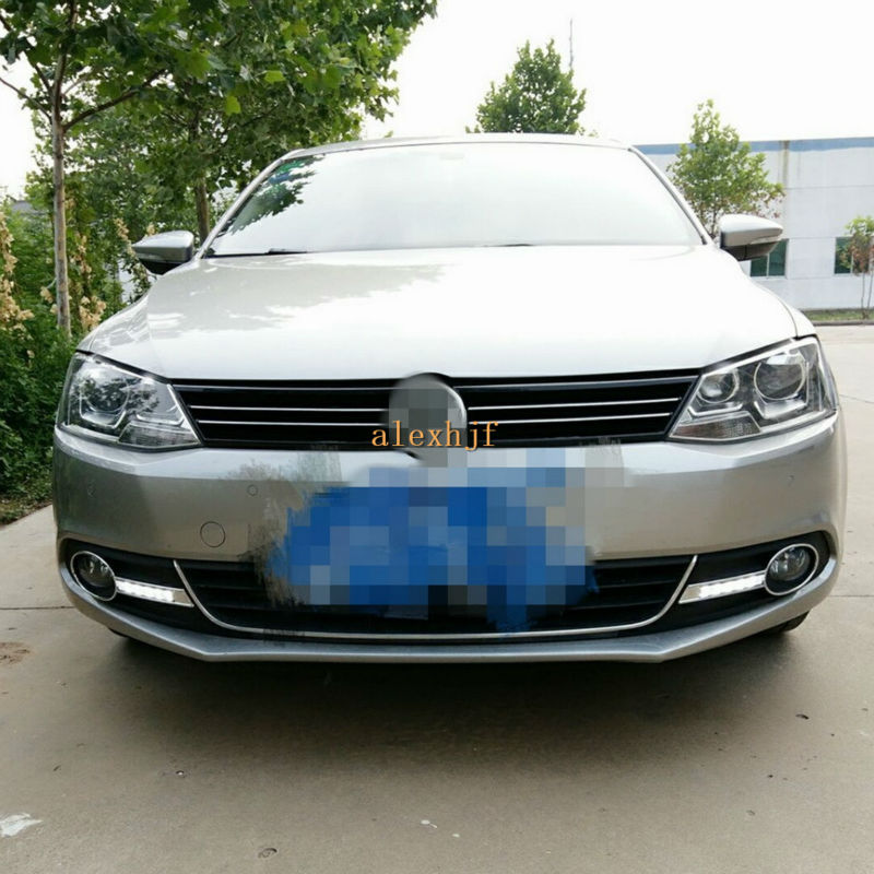 July King LED Daytime Running Lights DRL With Fog Lamp Cover Case for VW Sagitar Jetta 6th 2011~14, 1:1 Replace, Free Shipping wljh 2x canbus no error led p21w 1156 ba15s drl driving daytime running fog lamp light for vw sagitar jetta mk6 2011 2012 2013