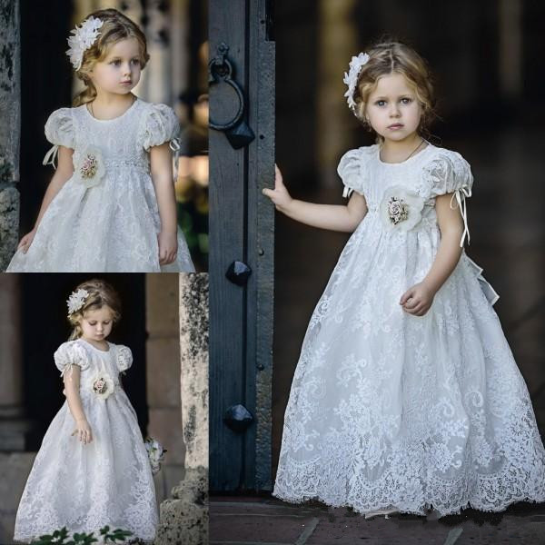 2017 Vintage White/Ivory Lace Flower Girls Dresses A Line Short Sleeves First Communion Gown Custom Made Girls Pageant Vestidos