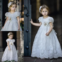 2017 Vintage White Ivory Lace Flower Girls Dresses A Line Short Sleeves First Communion Gown Custom