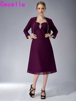 Grape Short Knee Length A Line Chiffon Mother Of The Bride Dresses With Jackets Suits Simple