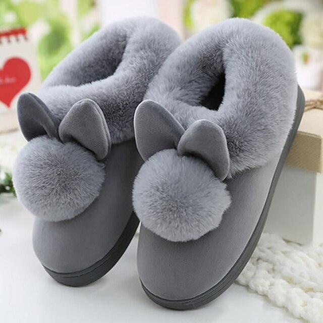 חדש נשים כפכפים פרוותי אוזני ארנב קטיפה קטיפה שלג נשי נעל מקורה נעלי בית בתוספת גודל גבירותיי רך נעלי נוחות