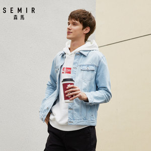 SEMIR denim Jacket men coat dark Blue Casual Teens Denim Jacket cotton Turn-down Collar Long Sleeve Denim Bomber jackets man