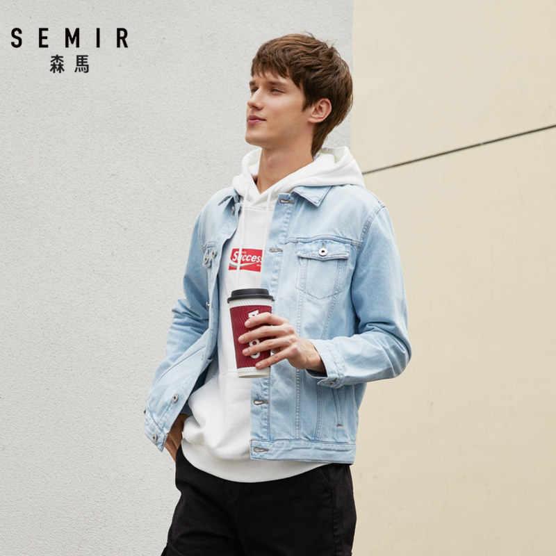 SEMIR джинсовые куртки мужские пальто темно-синие повседневные джинсовые куртки для подростков хлопковые куртки-бомберы с длинными рукавами и воротником