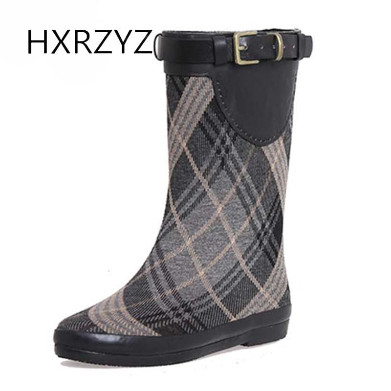 HXRZYZ rubber font b rain b font font b boots b font women buckle striation tall