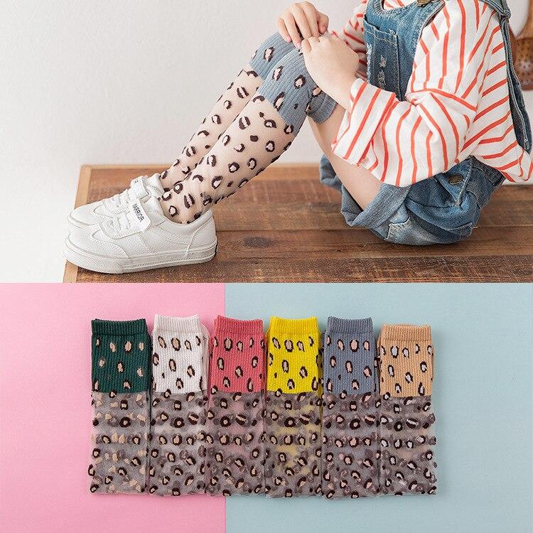 Girls Kids Knee High Socks Stripes Dot Pattern Children Glass Leopard Socks 6 Colors For 2~10 Years Baby Long Leg Warm