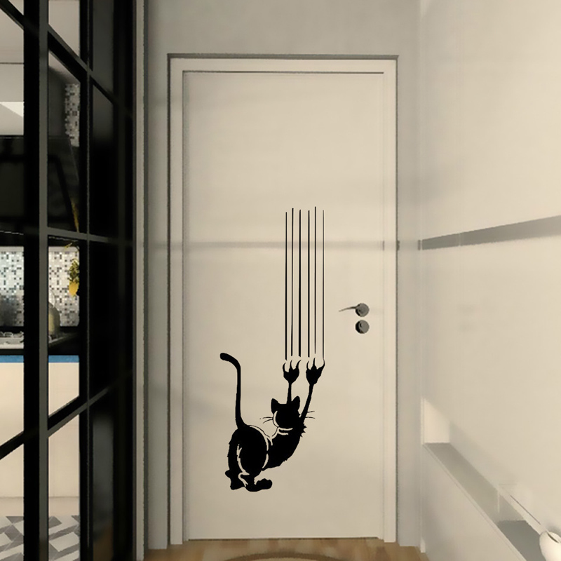 Cute cat paw prints Wall Sticker Door/Wall Home decoration living room Background Mural art Decals Removable Funny stickers