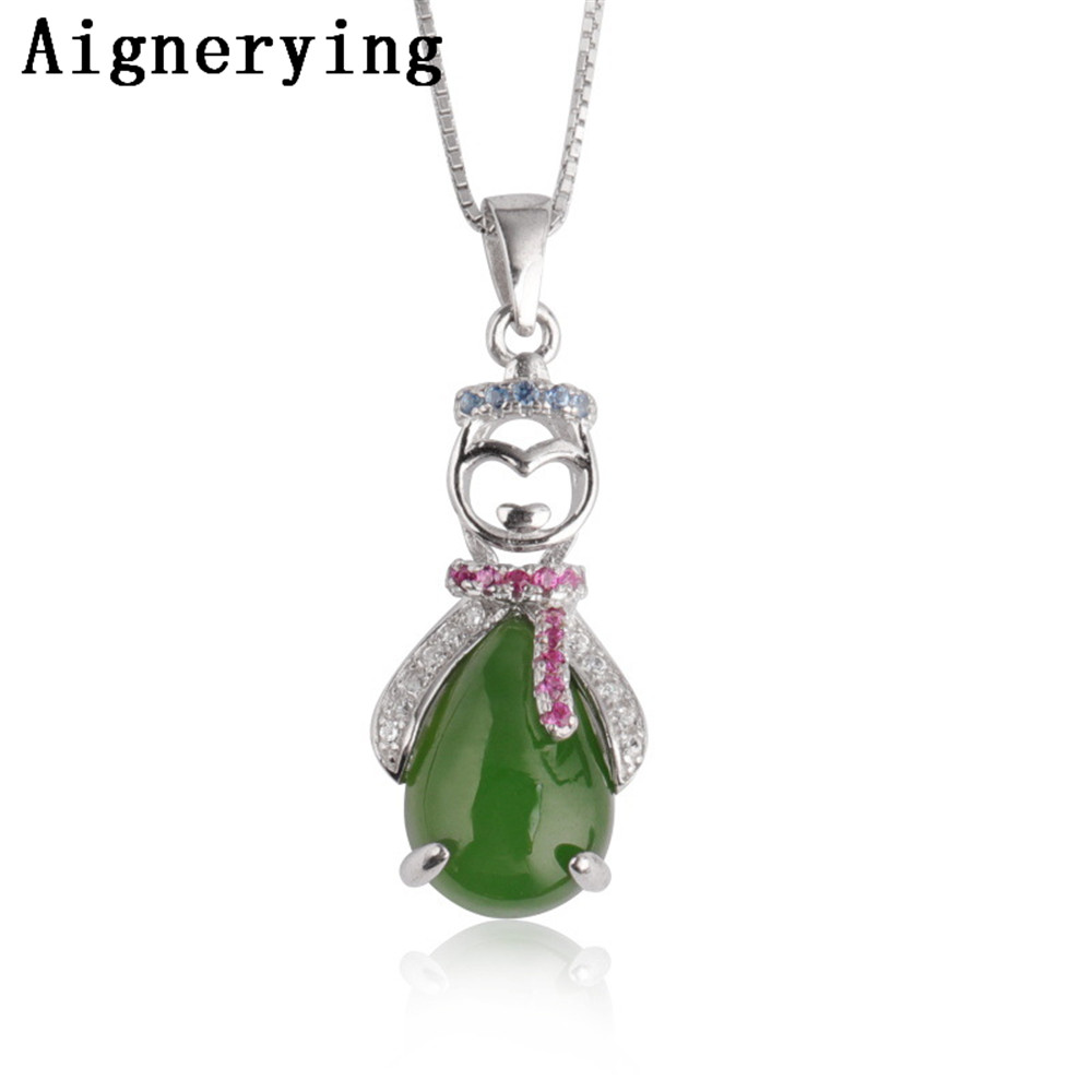 Certificate 925 silver Necklace Green Jade Zircon Inlaid female models Vintage Pendant Cute For Woman Charm Gift with Craft Box Certificate 925 silver Necklace Green Jade Zircon Inlaid female models Vintage Pendant Cute For Woman Charm Gift with Craft Box