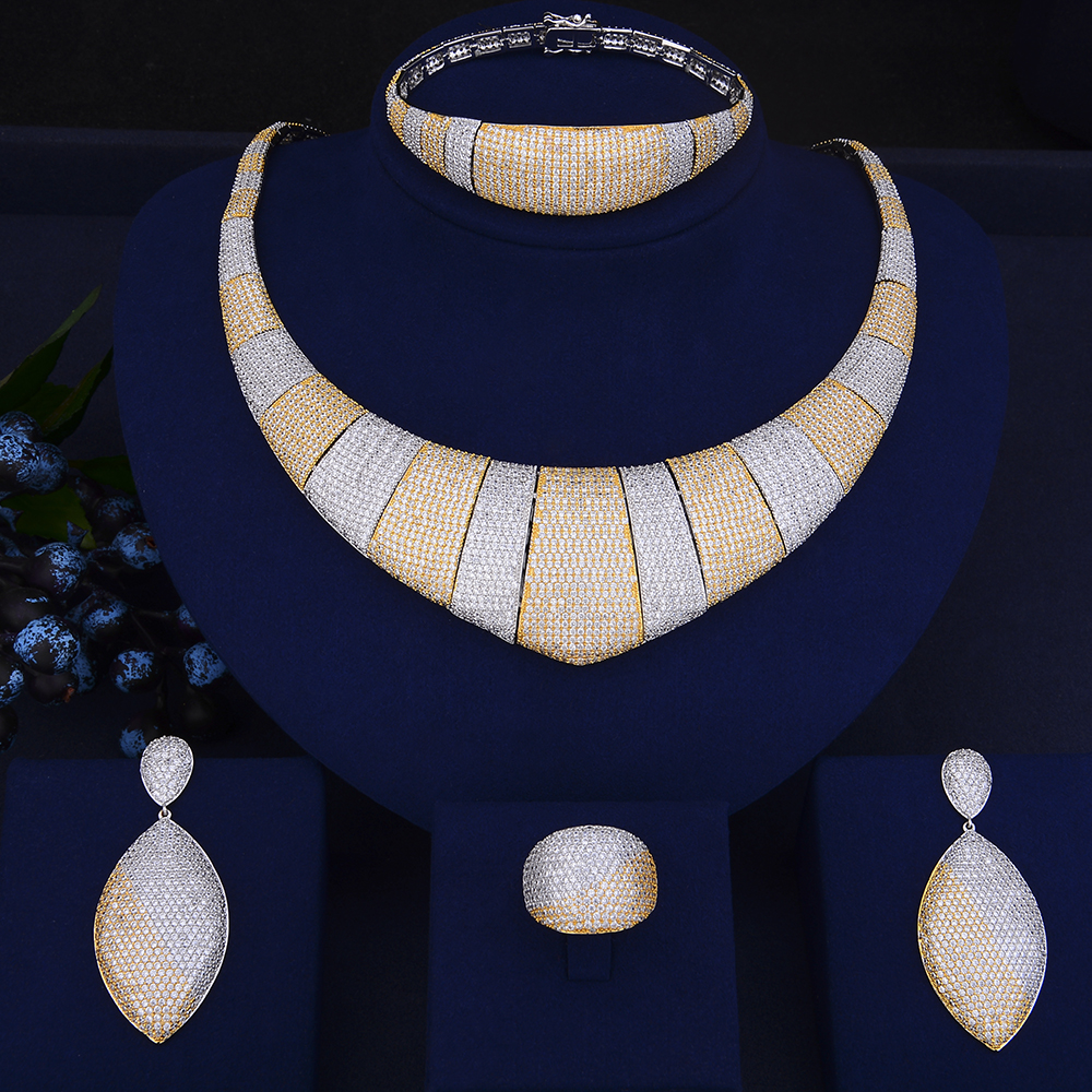 4PCS Luxury Geometric Shape Jewelry Sets Cubic Zirconia Inlaid Collar Necklace Earrings Bracelet Ring For Women Wedding 4pcs trendy flower shape indian jewelry sets cubic zirconia collar necklace stud earrings bracelet ring for women wedding