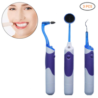3Pcs Teeth Cleaning Kit Dental Plaque Remover Dental Stains Tartar Tool Teeth Whitening Scraper LED Light Oral Mirror Kit