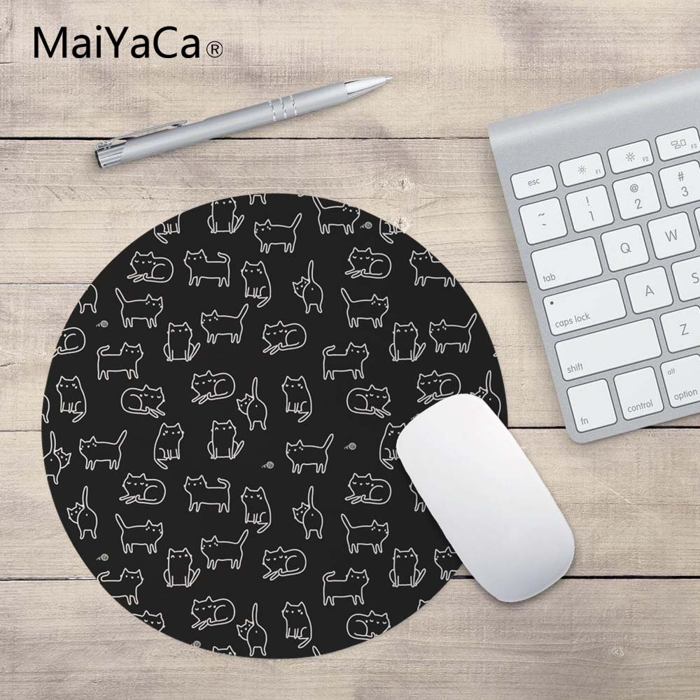 MaiYaCa Hot Cute Cat 20*20cm Or 22*22 Cm Mouse Pad Speed Control Mat A Lot Of Kitten Head Round Mouse Pad