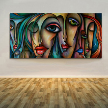 High Skills Artist Hand-painted Quality Kinds of Beautiful Colors Abstract Portrait Modern Faces Oil Painting on Canvas