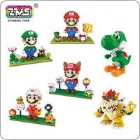 ZMS Super Mario Game Luigi Yoshi Bowser Fire Cat Mario 3D Model DIY Mini Building Diamond Nano Blocks Toy Flower Coin