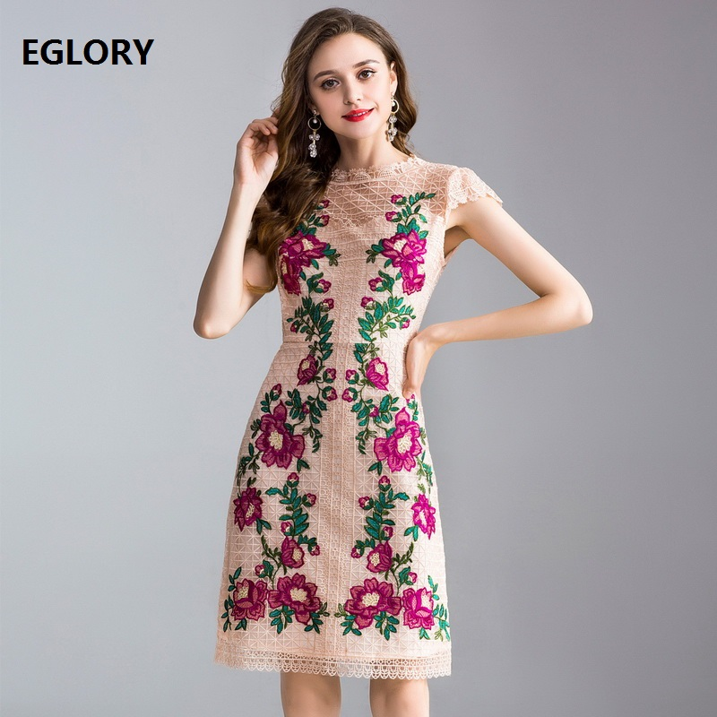 Newest Fashion Prom Women Dresses 2018 Summer Clothing Female Charming Flower Embroidery Short Sleeve Bodycon Lace