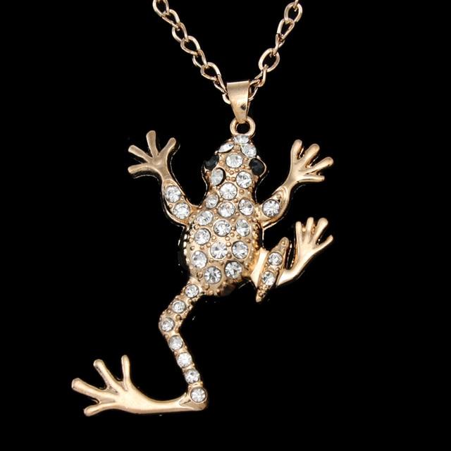 FLOLA Hip Hop Jewelry Gold Frog Necklace Crystal Rhinestone Big Wild