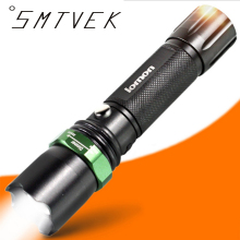 Portable Powerful Rechargeable XM-L Cree T6 Zoomable Flashlight Defensive End With 18650 Battery Full Of Electric Last 3 Hours
