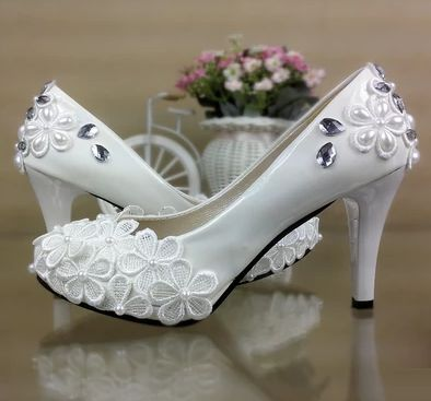Plus Sizes White Wedding Shoes Womens Rhinestones Flower Lace Bridal Dress Pumps Brides Pump In Women S From On