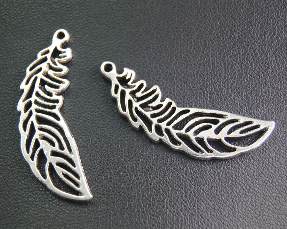 20Pcs Antique Sliver Filigree Feather Charm Fit Bracelets Necklance DIY Metal Jewelry Making 38x13Mm A2061 ...