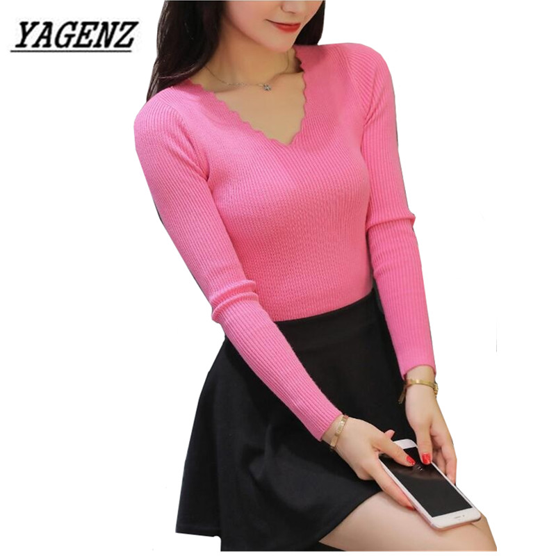 Sweaters Clothing Short Sexy Knitwear Women Pullover V-Neck Long-Sleeve Korea Casual