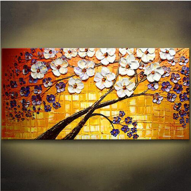 100% Hand Painted Acrylic Knife Floral Paintings Colorful Flower Oil ...