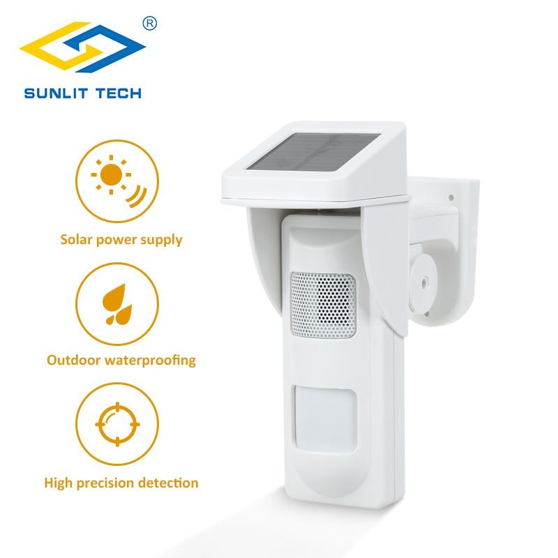 Wireless Outdoor Solar Siren Sensor Alarm PIR Motion Sensor Pet Immunity IP 65 Waterproof Detector with