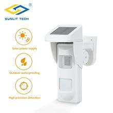 Bezprzewodowy zewnętrzny czujnik alarmowy syreny słonecznej czujnik ruchu PIR odporność na zwierzęta IP 65 wodoodporny detektor z 2 szt. Piloty zdalnego sterowania
