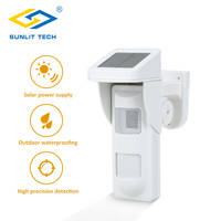 Wireless Outdoor Solar Siren Sensor Alarm PIR Motion Sensor Pet Immunity IP 65 Waterproof Detector with 2pcs Remote Keyfobs