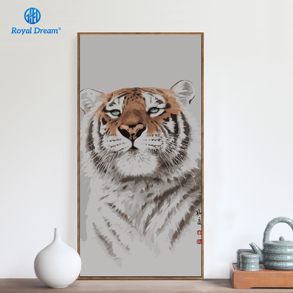 Large Size Tiger Oil Painting by Numbers Animals Pictures by Numbers for Adults Living Room Decoration Pictures Hand Made