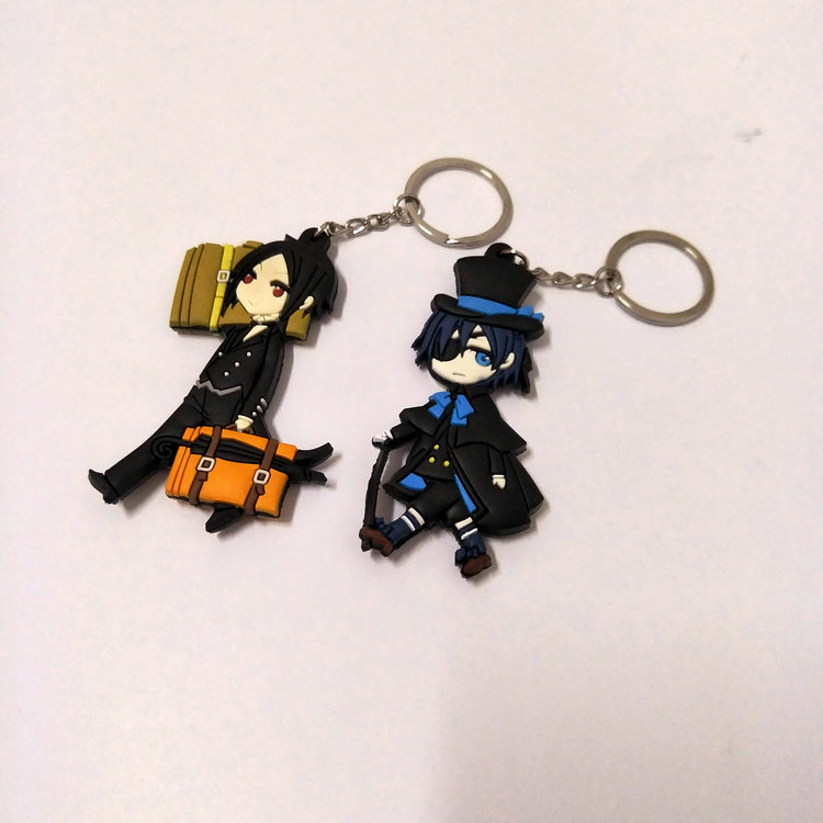 Black Butler Double-Side Soft Rubber Keychai Ciel Phantomhiven Cartoon Figure Pendant KeyChain Halloween Christmas New Year Gift