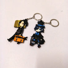 Black Butler Double-Side Soft Rubber Keychai Ciel Phantomhiven Cartoon Figure Pendant KeyChain Halloween Christmas New Year Gift(China)