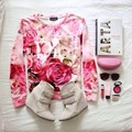 3D Mall New Series Pink Roses Blossom Floral Flower Sweatshirt Women's Unisex Clothing Double Print Hoodies Spring Tops Bright
