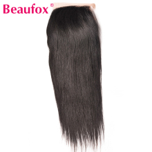 Beaufox Human Hair Lace Closure Brazilian Straight Hair Closure 4×4 Inch Free Part 120% Density Non-remy Hair Free Shipping