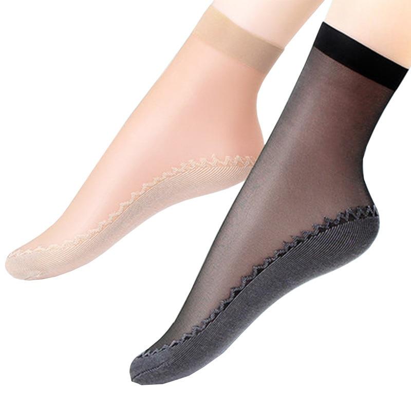 Summer Sexy Ultra-thin Woman Socks Elastic Wear-Resistant Silk Women Socks Cool Transparent Crystal Short Female Socks For Woman