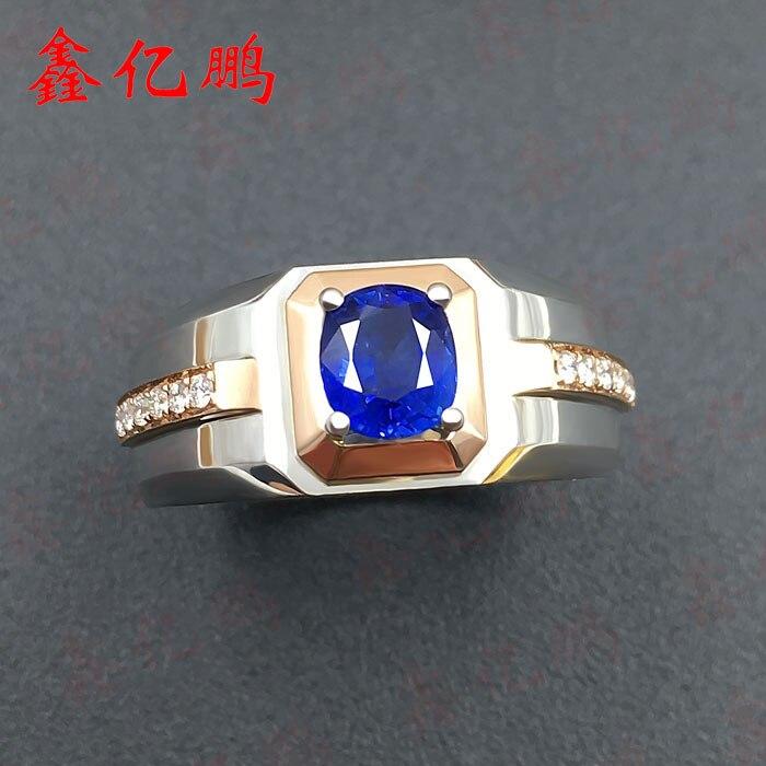 anillo de zafiro natural anillo el azul real de color brillante fuego 18 k jin caibao