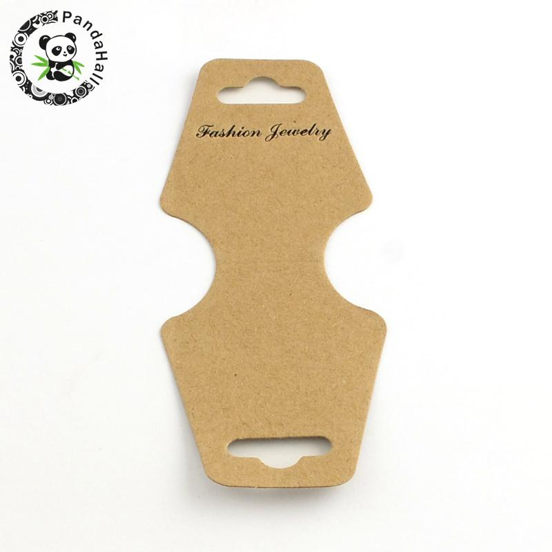 1000pc Cardboard Display Cards, Used For Jewelry Necklace, Bracelet and Mobile Pendants, Camel, 124x46x0.3mm