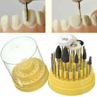 41Pcs Silicone Rubber Dental Lab Rotary Tungsten Steel Polishing Burs 2.35mm Teeth Whitening Dentist Equipment With Box