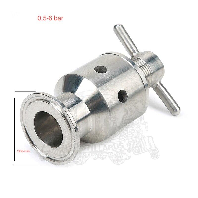 2(OD64) Tri Clamp  Adjustable Pressure  Safety Valve 0.5-6bar. Stainless steel 304 electric pressure cooker pressure cooker pressure limiting valve safety valve pressure valve 80kpa