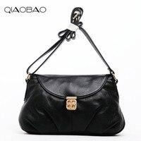 QIAOBAO 100% Genuine Leather Bag Women Messenger Bags Crossbody Lock Bag Female Fashion Shoulder Bags for women