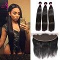 Black Friday Natural Lace Frontal Closure With Bundles Indian virgin Hair 3 Bundles With Frontal Closure Straight Human Hair