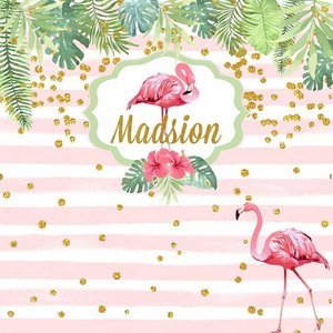 Image 2 - Gold Glitter Dots Pink Flamingo Tropical Rainforest Backdrop For Photo Studio White And Pink Striped Birthday Party Backgrounds
