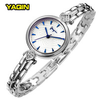YAQIN Fashion Simple Wrist Watch Women Bracelet Watch Small Dial Strap Elegant Blue Scale Womens Watches