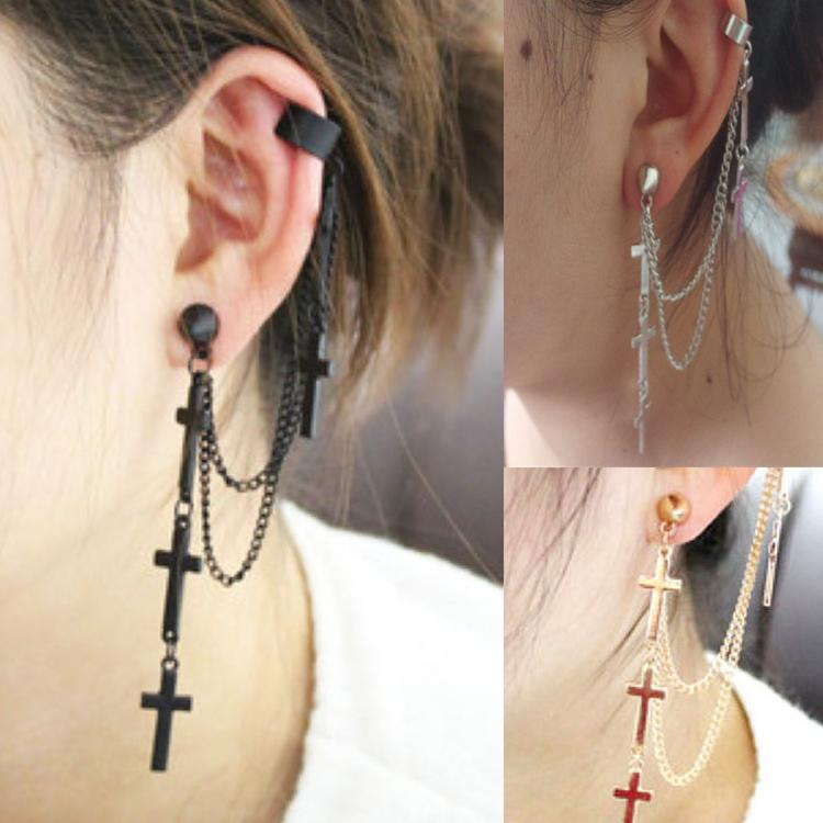 1pc Women Fashion Cool Punk Style Crosses Pendent Tassel Chain Ear Wrap Cuff Stud Clip Earring Gifts(China)