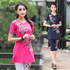 Plus Size Women Clothing 2017 Women Blouse Summer Ethnic Brand V Neck Short Sleeve Blue Black