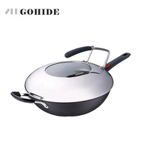 JUH Smokeless Wok PC32L1 Spatula A New Generation, Non Smoke Wok The Pot With Handle Mother's Day Gift