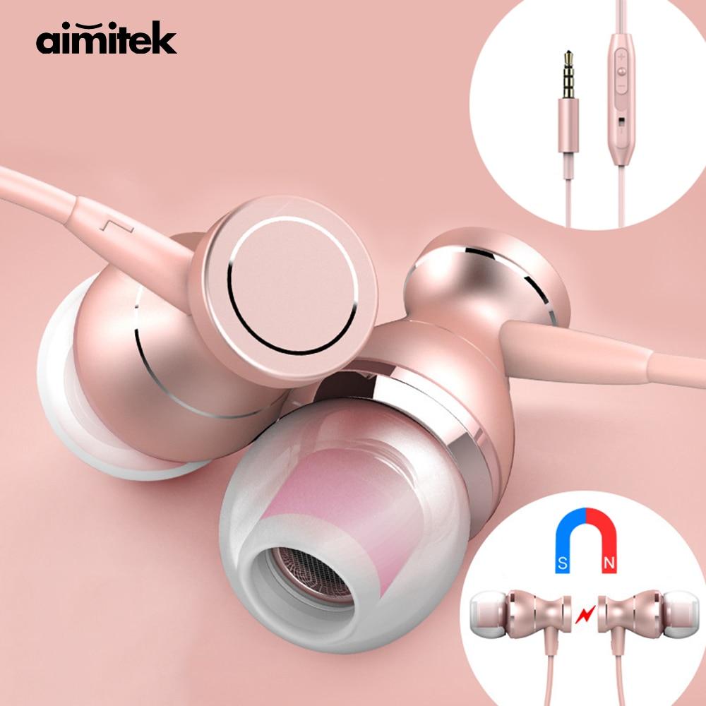 Aimitek Ακουστικά In-Ear Ακουστικά In-line Ελέγχου Μαγνητικά Στερεοφωνικά Earbuds Με Μικροσυσκευές για iPhone Κινητό Τηλέφωνο MP3 MP4