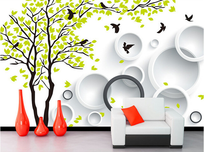 Custom 3D fresh tree birds mural papel de parede, hotel restaurant coffee shop living room sofa tv wall bedroom wallpaper