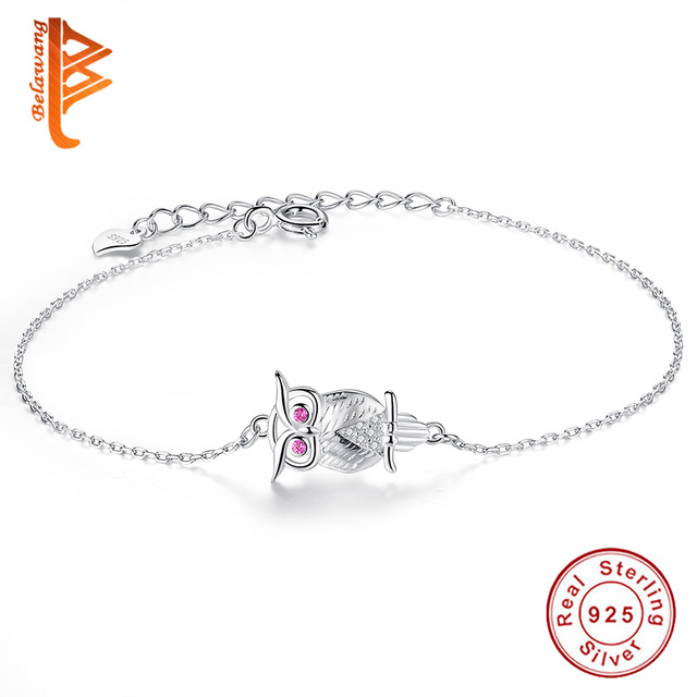 e8b0ecdf8 BELAWANG Lovely Pink Eye Animal Owl Charm Bracelet 100% 925 Sterling Silver  Jewelry Adjustable Chain Bracelet for Women Girls
