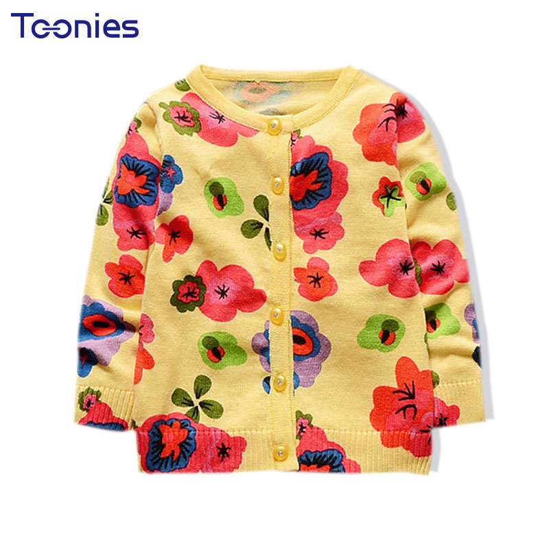 Breathable Flower Print Lovely Girls Cardigans Autumn Winter Long Sleeve Knitted Cotton Sweater Kids Outwear Infant Baby Clothes